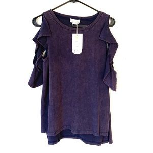 Love Riche Washed Ruffle Cold Shoulder Tee L